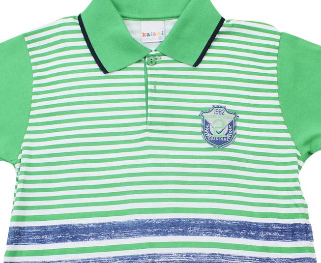 """Polo """"Clube Oficial Original"""" Verde Listrado com Azul Kaiani"""