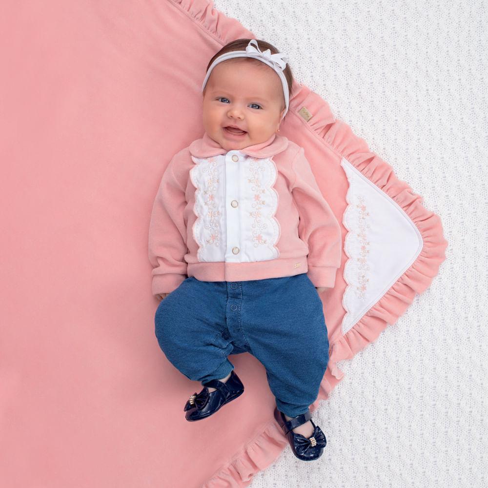 Saída De Maternidade Menina Paraíso Rosa e Jeans