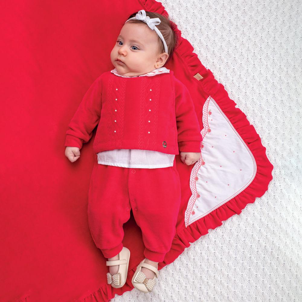 Saída De Maternidade Menina Paraíso Vermelha