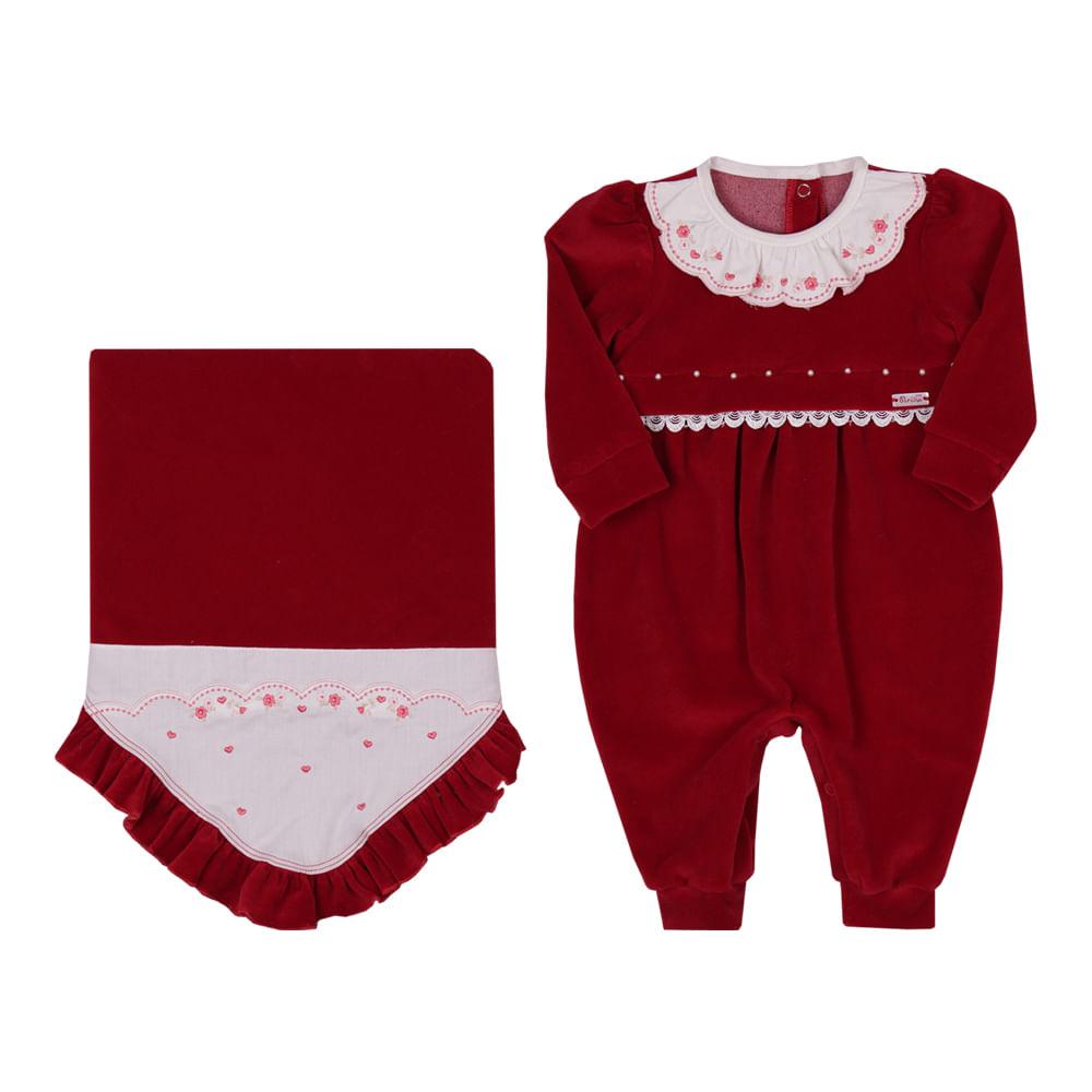 Saída De Maternidade Menina Paraíso Vermelha Plush