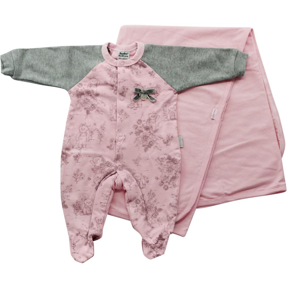 Saída De Maternidade Menina Rosa e Cinza Malha