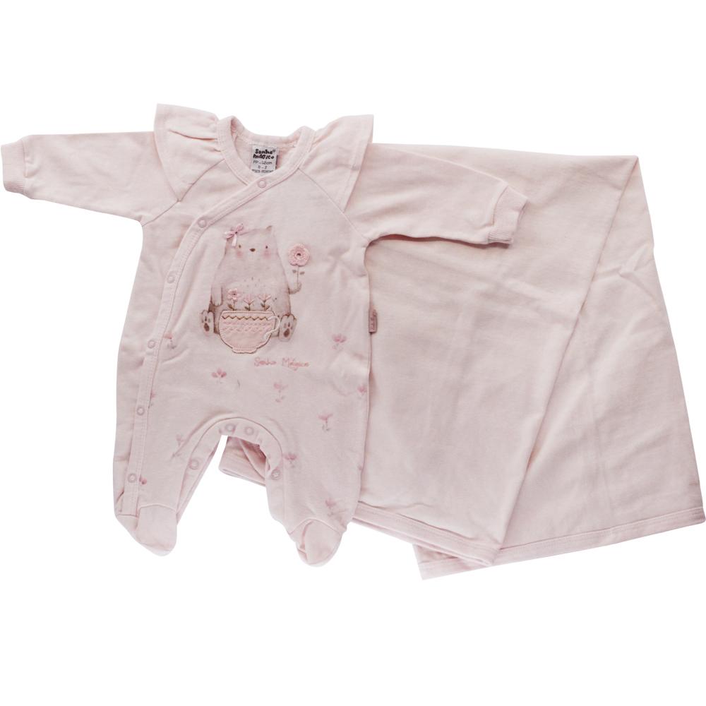 Saída De Maternidade Menina Rosa Malha Gatinho