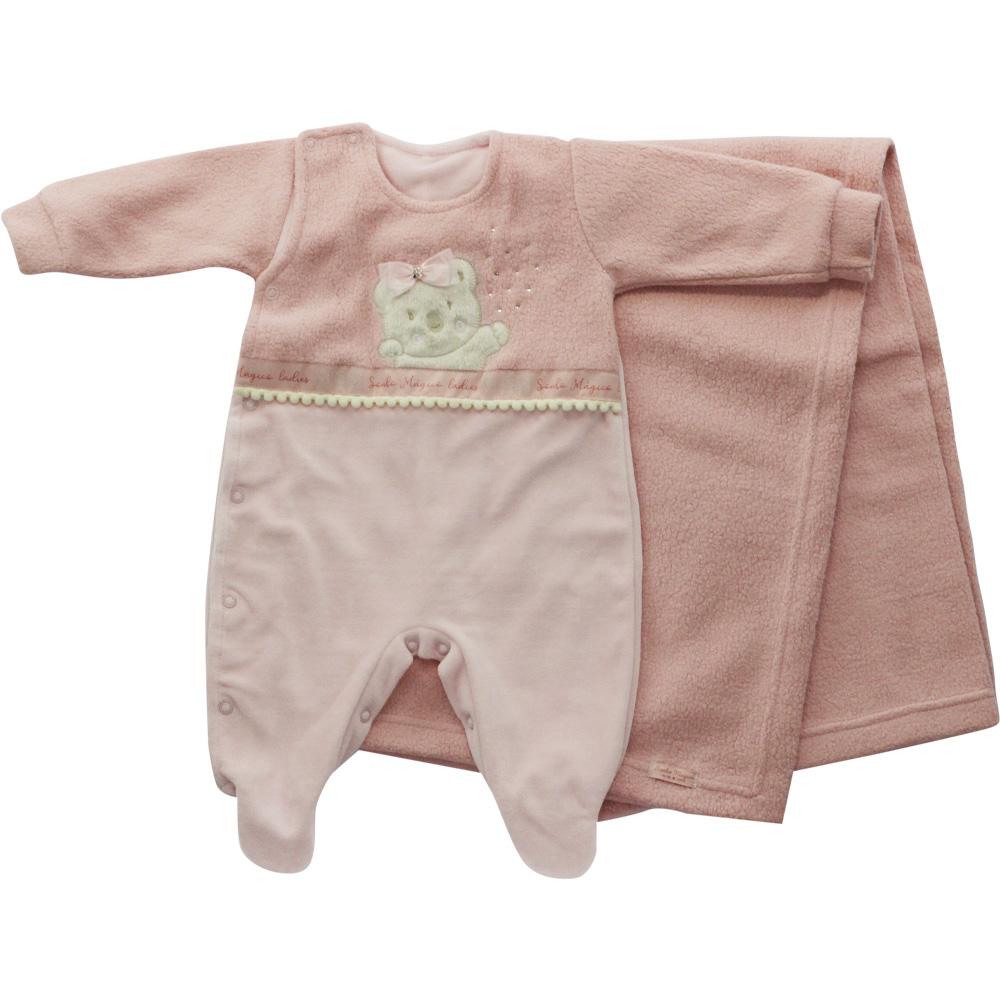 Saída De Maternidade Menina Rosa Plush Ursinho Lacinho