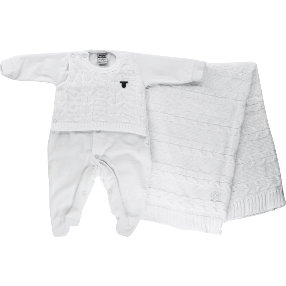 Saída De Maternidade Menino Branca Tricot