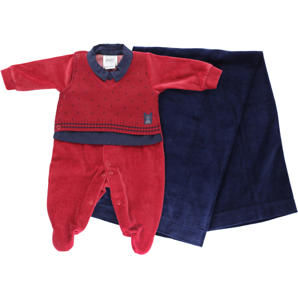 Saída De Maternidade Menino Vermelha e Azul Marinho Tricot