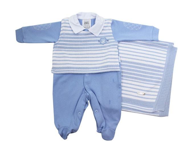 Saida de Maternidade Tricot Azul