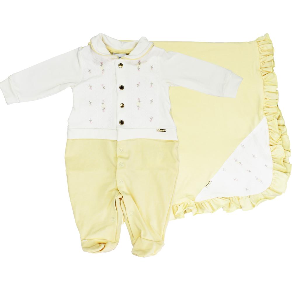 Saída Maternidade Menina Paraíso Amarelo Algodão