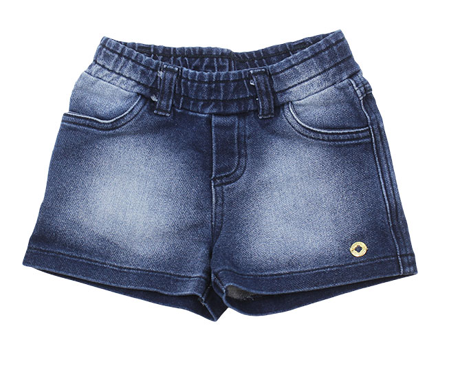 Short Jeans Feminino Azul Marinho com Sobras em Branco Milon