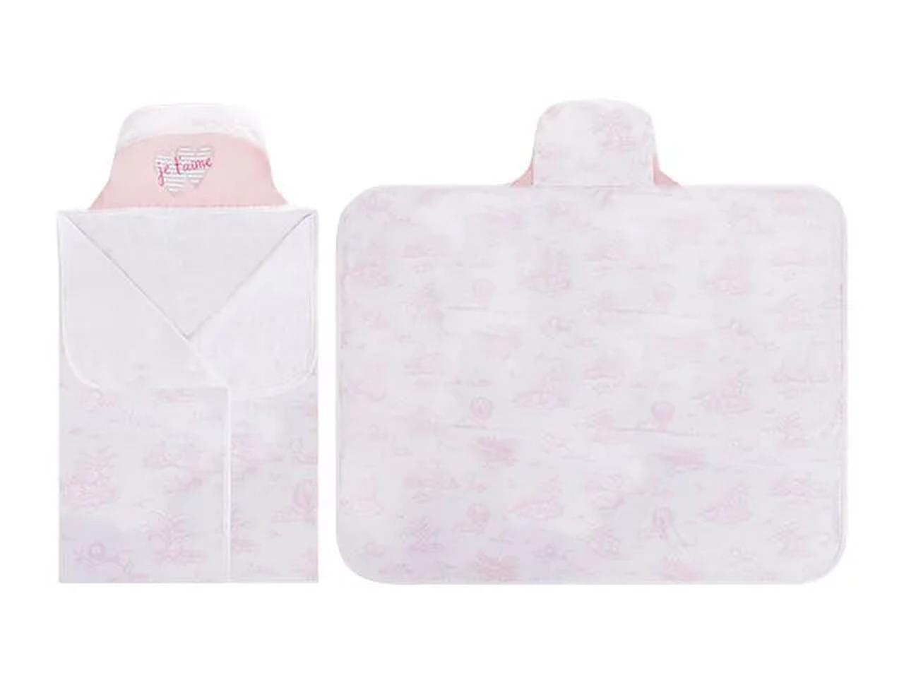 Toalha De Banho Bebê Com Capuz Colibri Coração Rosa