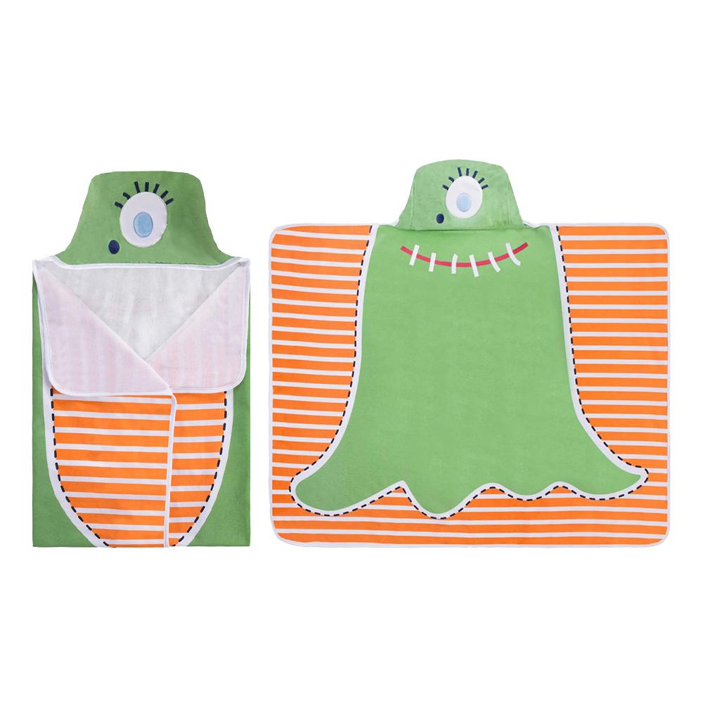 Toalha De Banho Bebê Com Capuz Colibri Monstrinho Verde