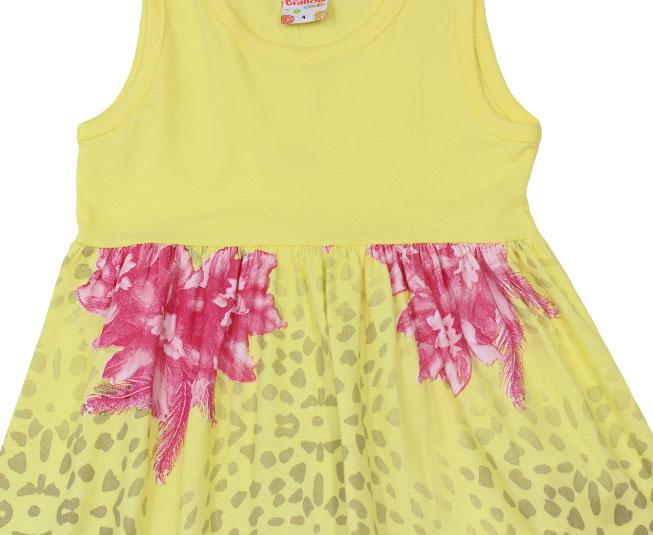 Vestido Amarelo com Flores Rosa Brandili