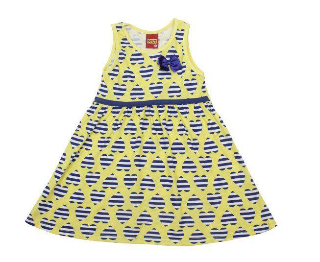 Vestido Amarelo Estampado com Laço Azul Kyly