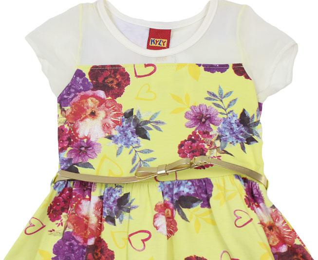 Vestido Amarelo Florido + Cinto  Kyly