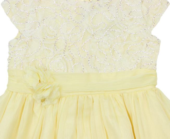 Vestido Amarelo Florido + Laço de Flor Brandili Mundi