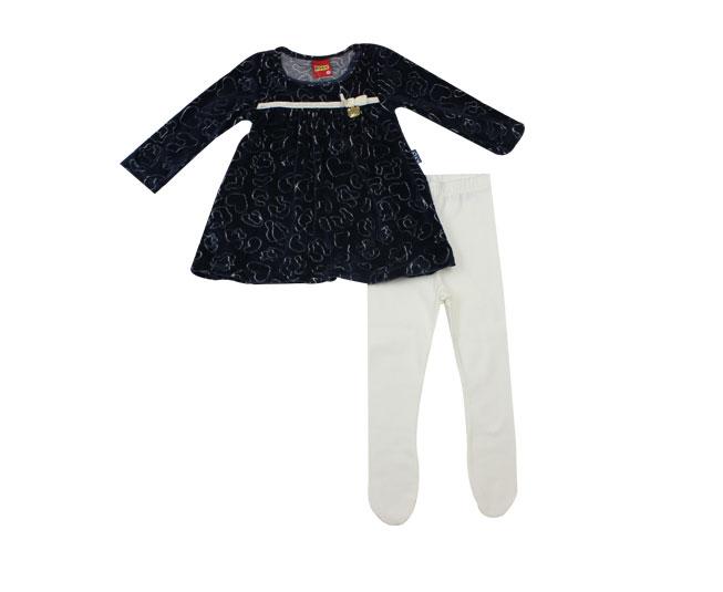 Vestido Azul com Meia Calça Branca Kyly