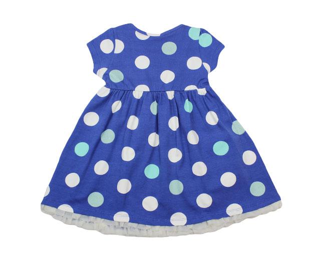 Vestido Azul de Bolinhas Brancas Milon