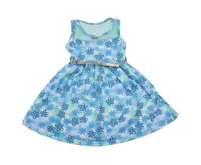 Vestido Azul de Florido + Cinto  Kyly