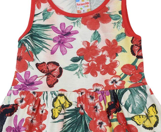 Vestido borboletas e Flores Brandili