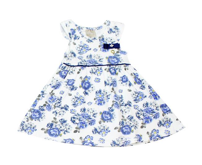 Vestido branco com flores azul
