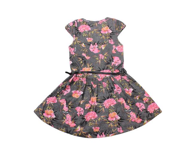 Vestido Cinza Florido com Passarinhos + Cinto Pulla Bulla