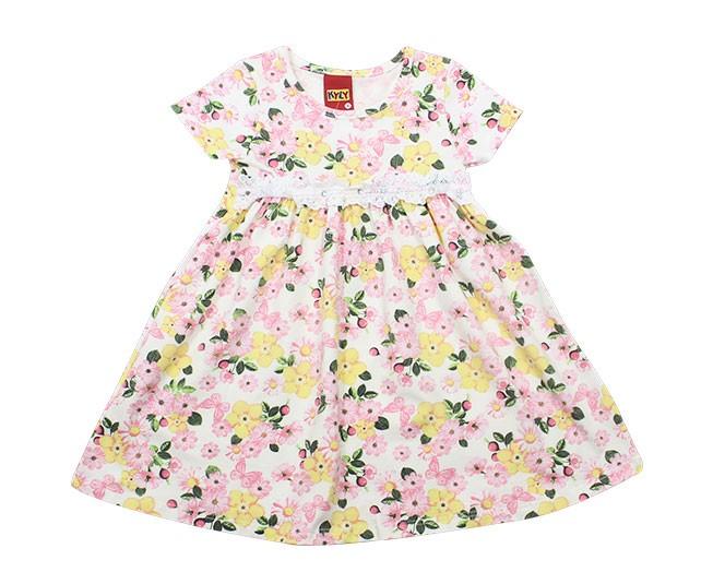 Vestido com Flores Rosa e Amarelo Kyly