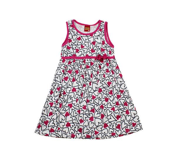Vestido Corações com Laço Rosa Kyly