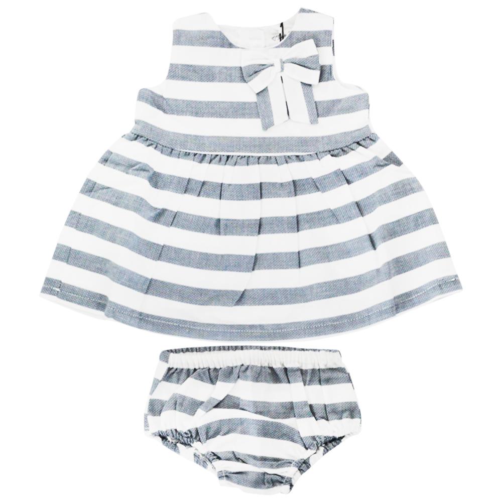 Vestido De Bebê Azul Listrado Tip Top