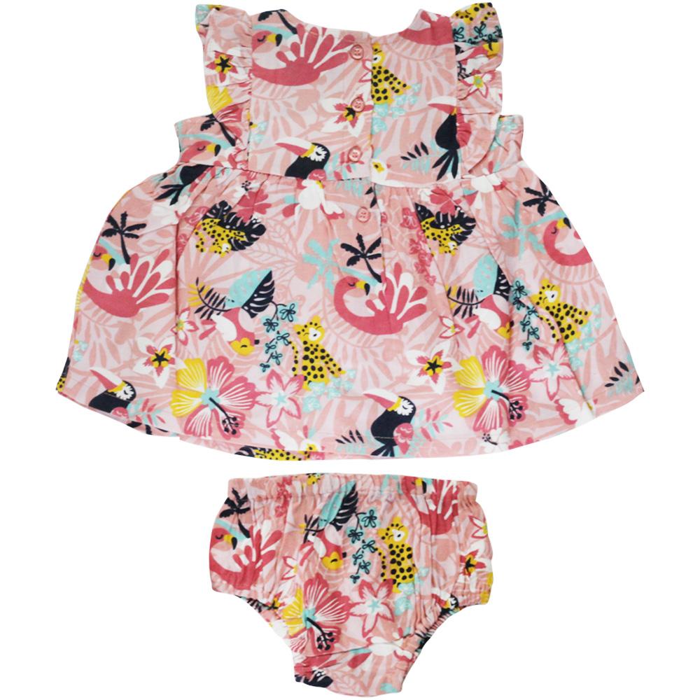 Vestido De Bebê Rosa Floresta Tip Top