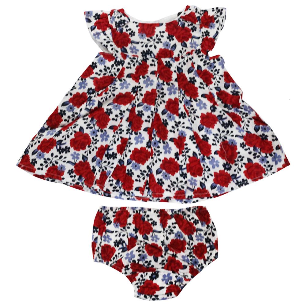 Vestido De Bebê Vermelho Floral Tip Top