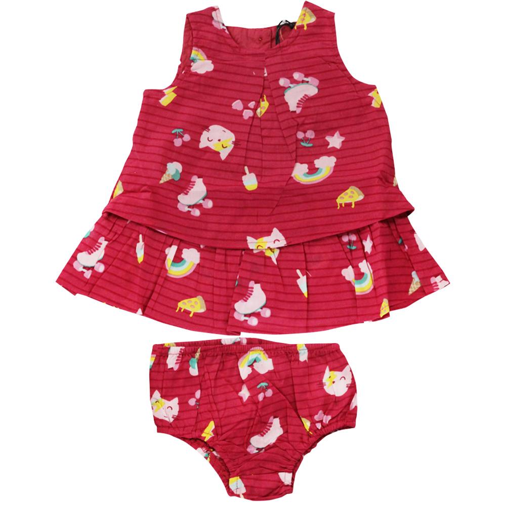 Vestido De Bebê Vermelho Gatinhos Tip Top