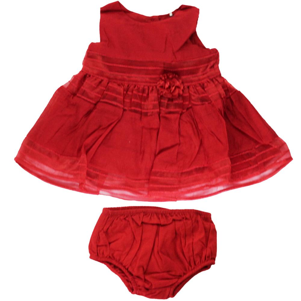 Vestido De Bebê Vermelho Rendado Tip Top
