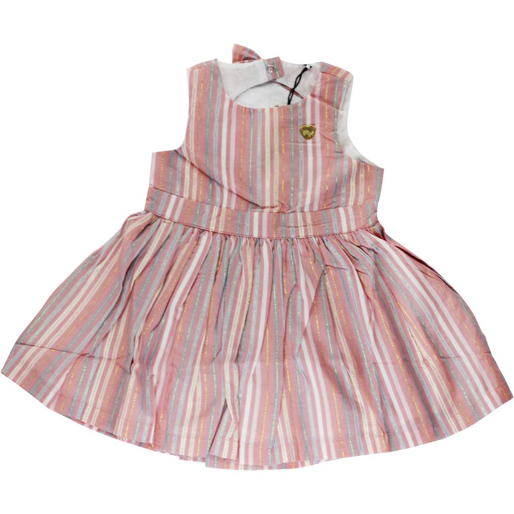 Vestido De Criança Rosa Listrado Tip Top