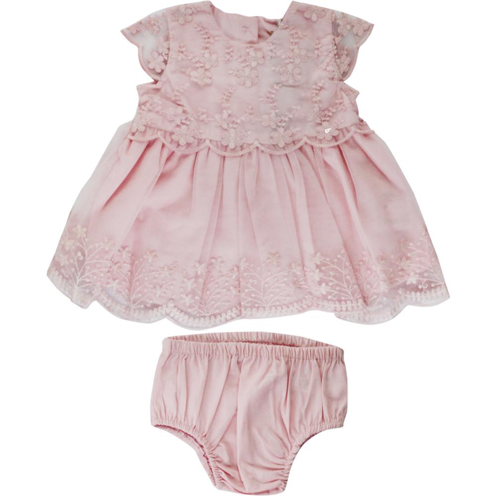 Vestido De Bebê Rosa Rendado Tip Top