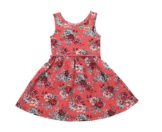 Vestido Estampado Florido Rosa Salmão Milon