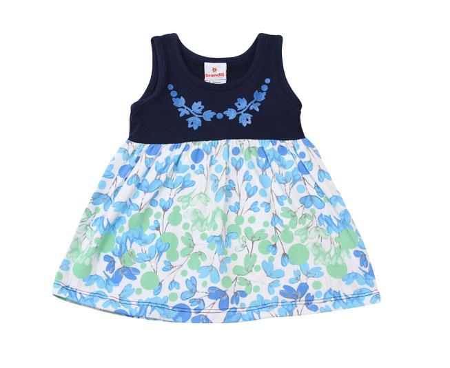Vestido Florido Azul + Verde Brandili