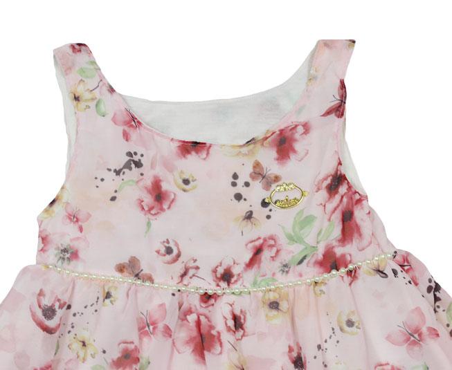 Vestido Florido Rosa com Perolas Milon