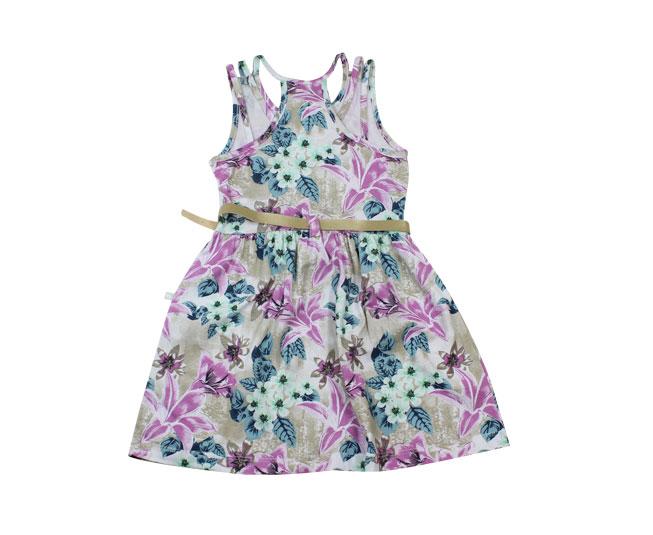Vestido Florido com um Lindo Cinto Brandili