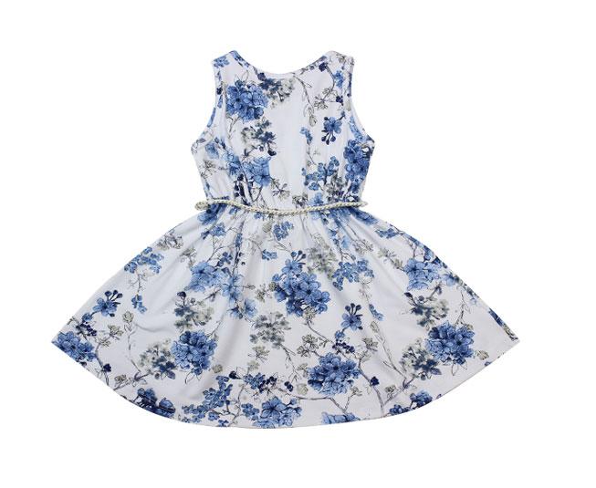 Vestido Florido Milon Azul / Branco