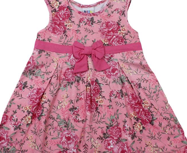 Vestido Florido Rosa com Lacinho Pulla Bulla
