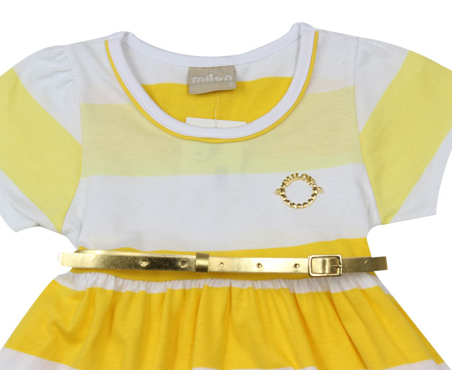 Vestido Listrado Amarelo + Cinto Milon