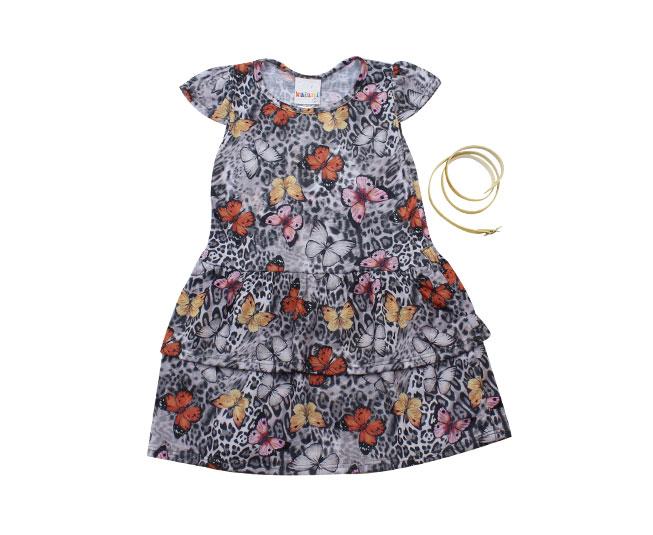 Vestido Pintado com Detalhes de Borboleta + Cinto  Cor Cinza  Kaiani