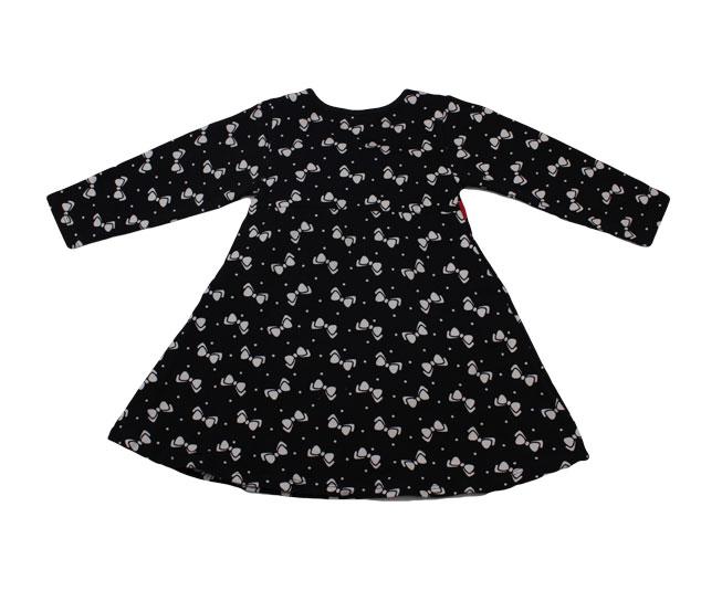 Vestido Preto Manga Longa Detalhes de Laço + Lacinho + Coração + Meias