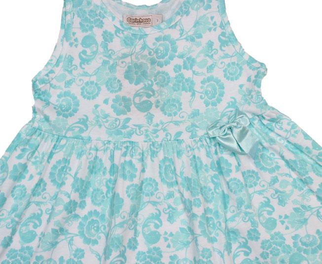 Vestido Regata Azul Florido + Lacinho Carinhoso