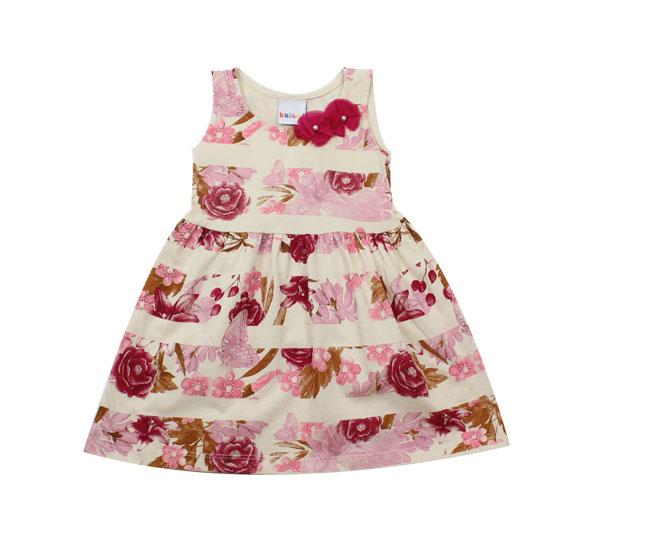 Vestido Regata Feminino Florido + Detalhes de Flores Cor Creme  Kaiani