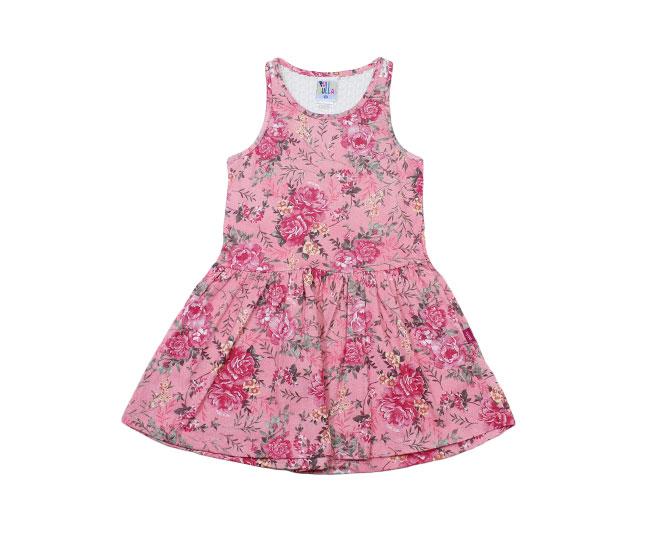 Vestido Rosa Regata Florido + Renda Pulla Bulla