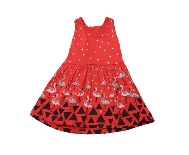 Vestido Triângulos + Flamingos Vermelho Brandili