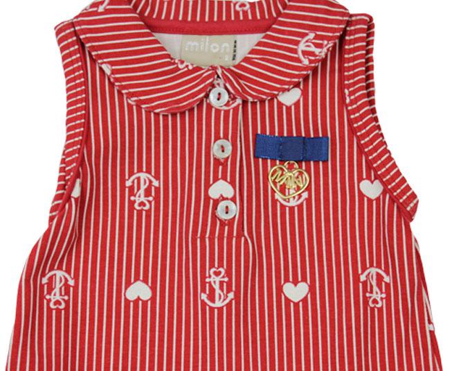 Vestido Vermelho com Ancora e Corações Milon