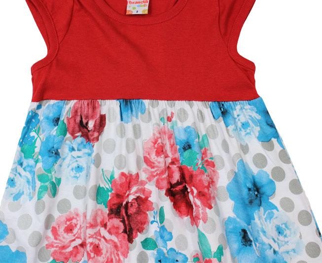 Vestido Vermelho com Varias Cores de Flores Brandili