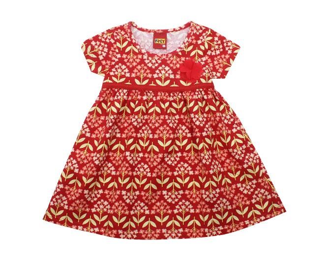 Vestido Vermelho e Amarelo Florido Kyly