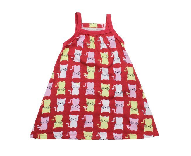 Vestido Vermelho Estampado Gatinho Kyly